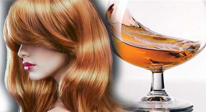 Волосы девушки после маски с желтком и коньяком