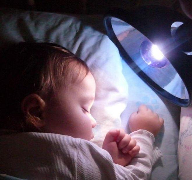 Прогревание синей лампой