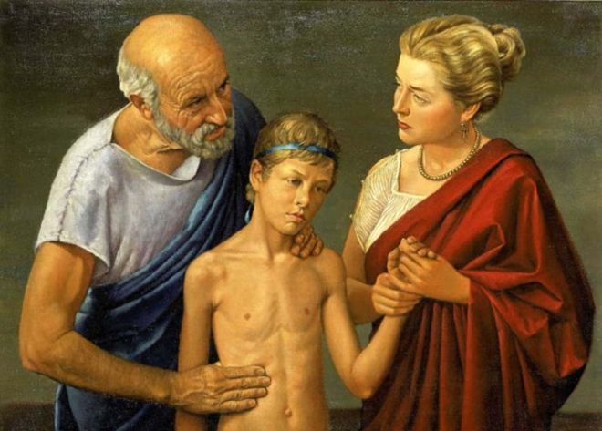Гипократ обследует пациента